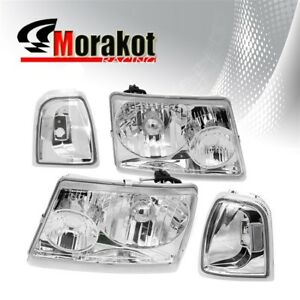 For 01 05 Ford Ranger 2 Piece Chrome Housing Headlights Clear Corner Reflector