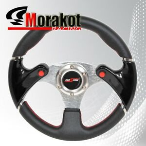 Universal 6 Bolt 320mm Black Pvc Leather Steering Wheel Black red nos Buttons
