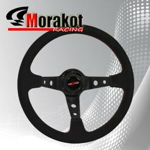 350mm Deep Dish 6 Bolt Suede Leather Steering Wheel Black Center Red Stitching