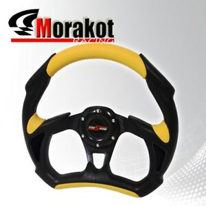 Universal Battle 320mm Pvc Leather 6bolt Steering Wheel Black yellow horn Button