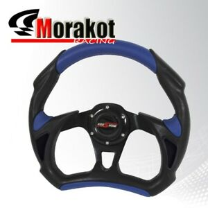 Universal Battle 320mm Pvc Leather 6 Bolt Steering Wheel Black blue horn Button