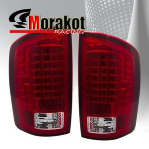 Dodge Ram 1500 07 08 Ram 2500 3500 07 09 Rear Brake Led Tail Lights Red Clear
