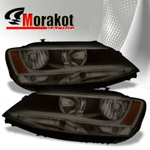 For 11 16 Vw Jetta Crystal Replacement Smoke Headlights Amber Reflector Lamps