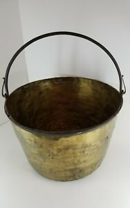 Large Rare Hudson Bay Co Antique Brass Kettle Cauldron Iron Handle Fur Trading