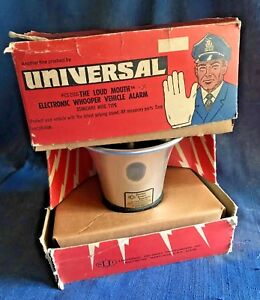 Vintage Universal Security Loud Mouth Whooper Vehicle Car Alarm Siren In Box Exc