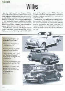 1942 Willys Article Must See Coupe Sedan Pickup Truck Ma Jeep Victory Car