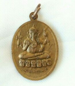 Pendant God Ganesh On Skull Shiva Hindu Talisman Thai Amulet Prosperous Success