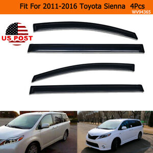 Window Visor Front Rear Rain Guards 4pcs Set Fit For 2011 2016 Toyota Sienna
