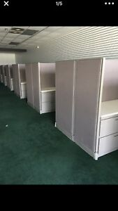 Set Of 10 Office Cubicles Workstations Each Cubicle 8 Feet X 8 Feet High Quality