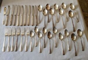 35 Camelia Silverplate Flatware Forks Spoons Knives Serving Pcs