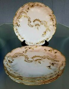 4 Antique French Lunch Plates Hand Painted Gold Embellished Signed France