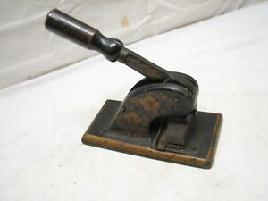 Antique Office Stamp Seal Embosser Cast Iron Tole Painted Desk Tool