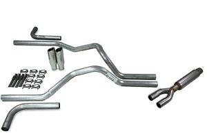 Chevy Gmc 1500 15 18 2 5 Dual Exhaust Kits Glasspack Side Exit Clamp On Tips