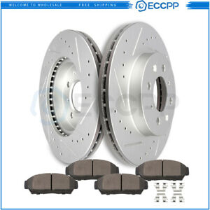 Front Discs Brake Rotors And Ceramic Pads For Acura Integra 1994 2001 Drill Slot