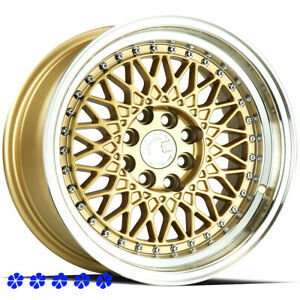 Aodhan Ah05 Wheels 15 X8 Gold Machine Lip 20 Rims 4x114 3 4x100 Mesh Lm Style