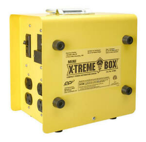 11 Yellow Metal Outdoor Portable Power Distribution Center Compact 250v Outlet