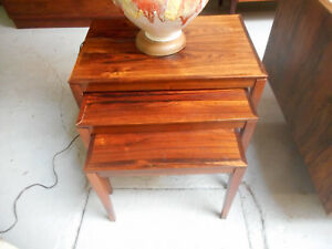 Danish Modern Rosewood Nesting Stacking Tables S 3 Manner Of Severin Hansen