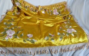 Antique Gold Silk Embroidered Piano Shawl Knotted Fringe 1914 Nice France