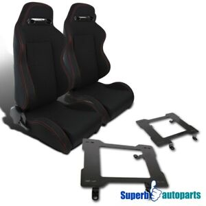 79 98 Mustang Black Cloth W Double Red Stitching Seats laser Welded Brackets