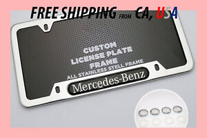 Secure 4 hole Mercedes Benz Chrome License Plate Frame Rear Front Back Cover