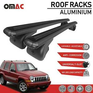 Roof Rack Cross Bars Luggage Carrier Black Fits Jeep Liberty 2002 2007