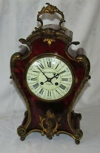 A Delightful Large French Ormolu Faux Tortoiseshell Mantle Clock By Vincenti