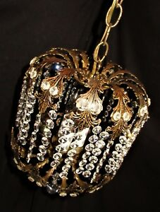 Vtg Deco Era French Spain Crystals Brass Chandelier Ceiling Fixture 1950 S