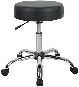 Salon Stool Spa Adjustable Height Black Faux Leather Rolling Cushioned Drafting
