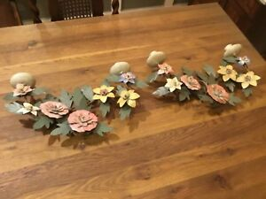 Antique Pair 2 Toleware Flowers Dual Candle Wall Sconces