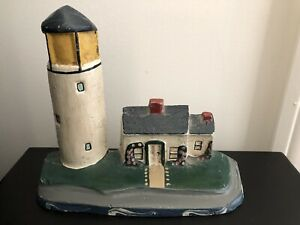 Vintage Cast Iron Lighthouse Keeper Home Figural Doorstop