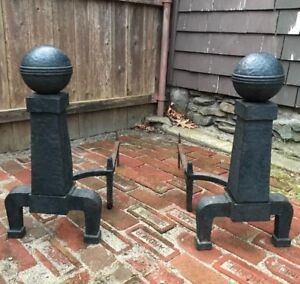 Antique Vintage Mission Arts And Crafts Style Large Pair Of Cast Iron Andirons