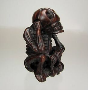 19th Century Japanese Wood Netsuke Gashadokuro Starving Skeleton
