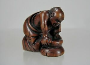 Early 19th Century Japanese Wood Netsuke Matcha Grinder