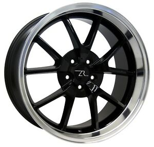 20 Black Cnc Lip Mustang Fr500 Style Wheels Staggered 20x8 5 20x10 5x114 3 05