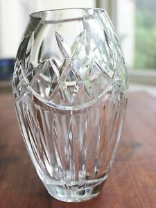 Beautiful Heavy High Quality 8 Vintage Lead Crystal Hand Cut Clear Glass Vase