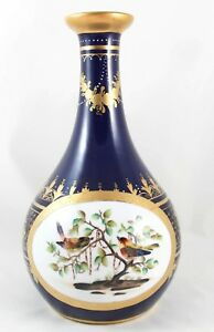 Antique Hand Painted Vase Jeweled Cobalt Gold Birds Royal Vienna Beehive Mark