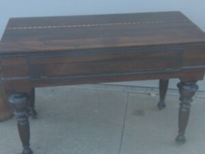 Antique 48 Rosewood Spinet Piano Desk Flip Top Turned Legs Table Desk