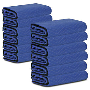 12 Moving Blankets 80 X 72 35 Lb dz Quilted Shipping Furniture Pads Bl blk