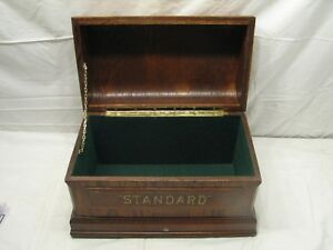 Early Standard Sewing Machine Curved Top Wooden Case Dresser Trinket Oak Box