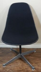 Vintage Eames For Herman Miller Fiberglass Upholstered Black Swivel Shell Chair