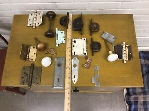 Large Lot Of Antique Vtg Door Window Hardware Art Deco Door Plate Hinges Look