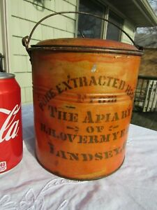 Vintage Original Pure Honey Tin From The Apiary Of H h Overmyer Lindsey Ohio