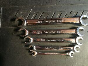 Snap On Rxfs605b 5pc Sae Flank Drive Flare Nut Wrench Set look Unused