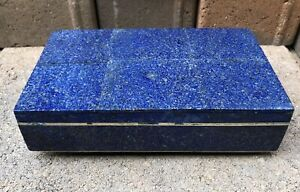 Antique Russian 84 Silver Lapis Lazuli Jewelry Casket Covered Cigarette Box Case