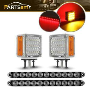 2pc Third Brake Led Id Bar W 2pc Dual Faced Stop Turn Tail Light For Truck Jeep