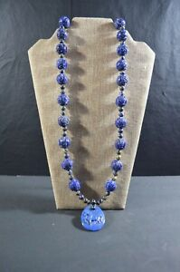 Chinese Antique Old Lapis Lazuli Necklace Silver Buckle