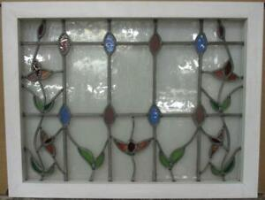 Mid Sized Old English Leaded Stained Glass Window Streaky Floral 29 25 X 22 25