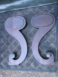 Pair Of Two Vintage Antique Curvy Walnut Harpsicord Table Legs