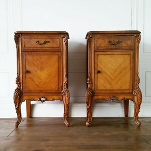 Pick Your Finish Rare Antique French Nightstands End Accent Table Pair