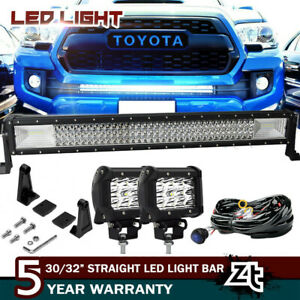 30 32inch Led Light Bar W wiring Kit For 2016 2018 Toyota Tacoma Lower Bumper